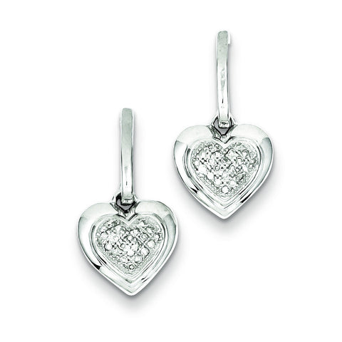 Sterling Silver Rhodium Plated Heart Diamond Post Dangle Earrings QE10444 - shirin-diamonds