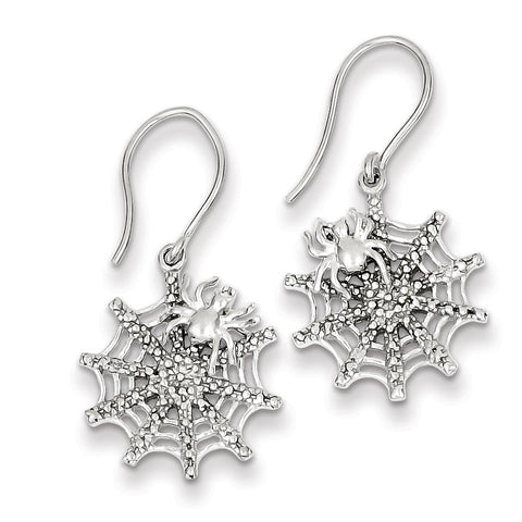 Sterling Silver Rhodium Plated Diamond Spider/Web Dangle Earrings QE10457 - shirin-diamonds
