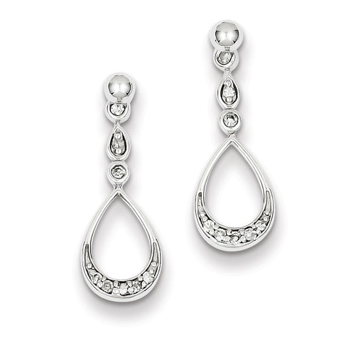 Sterling Silver Rhodium Plated Diamond Teardrop Post Dangle Earrings QE10552 - shirin-diamonds