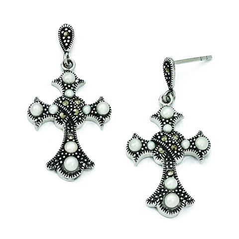 Sterling Silver Marcasite & FW Cultured Pearl Cross Earrings