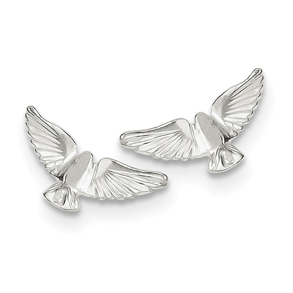 Sterling Silver Bird Mini Earrings QE112 - shirin-diamonds