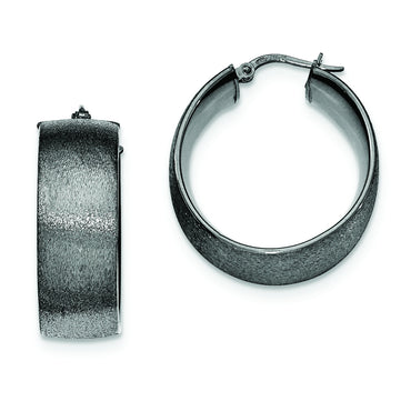 Sterling Silver Ruthenium-plated Textured Hoop Earrings QE11416 - shirin-diamonds