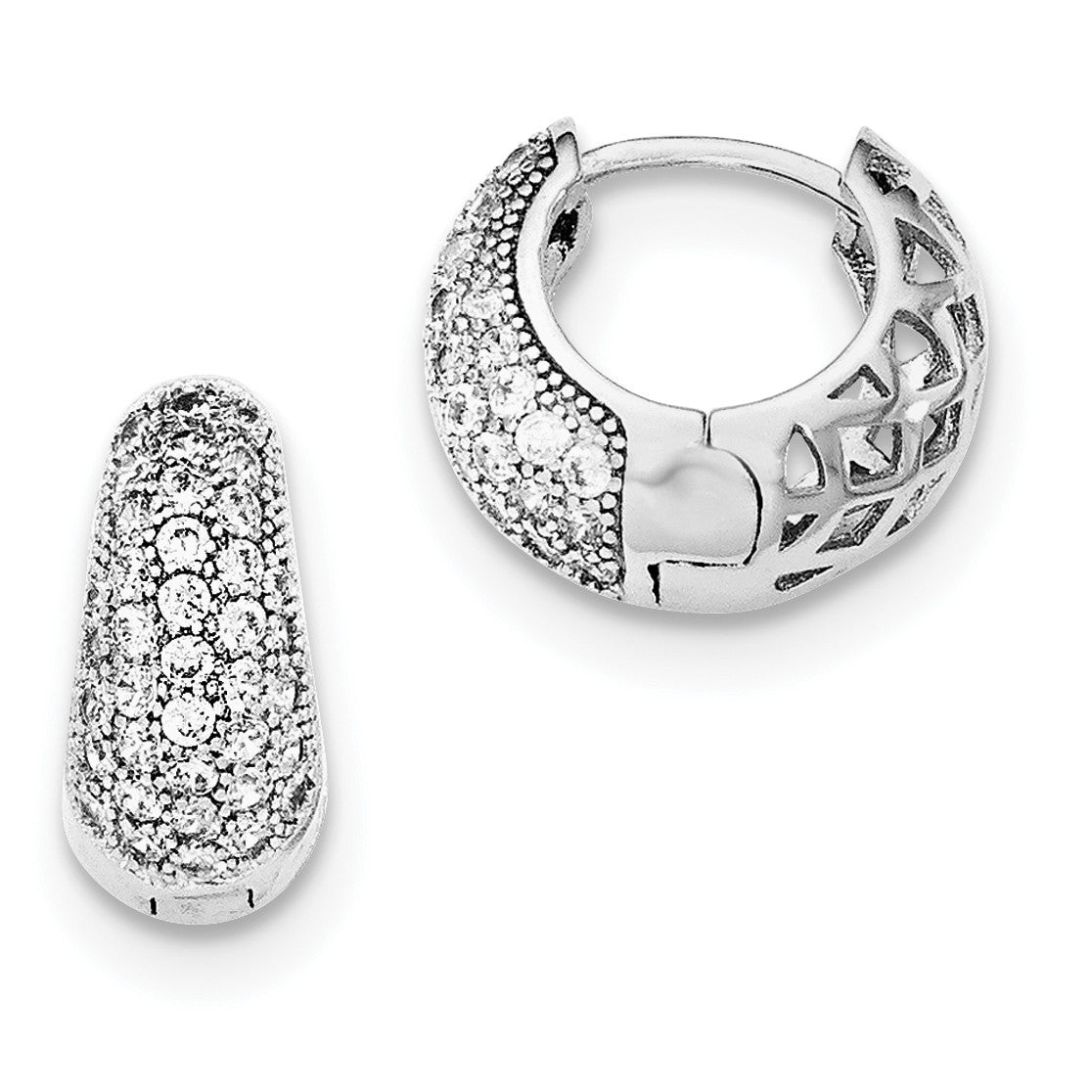 Sterling Silver Rhodium-plated CZ Hinged Hoop Earrings QE12276 - shirin-diamonds
