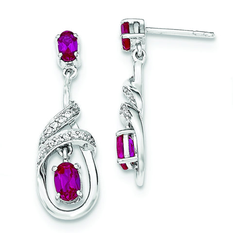 Sterling Silver Synthetic Ruby & CZ Dangle Post Earrings