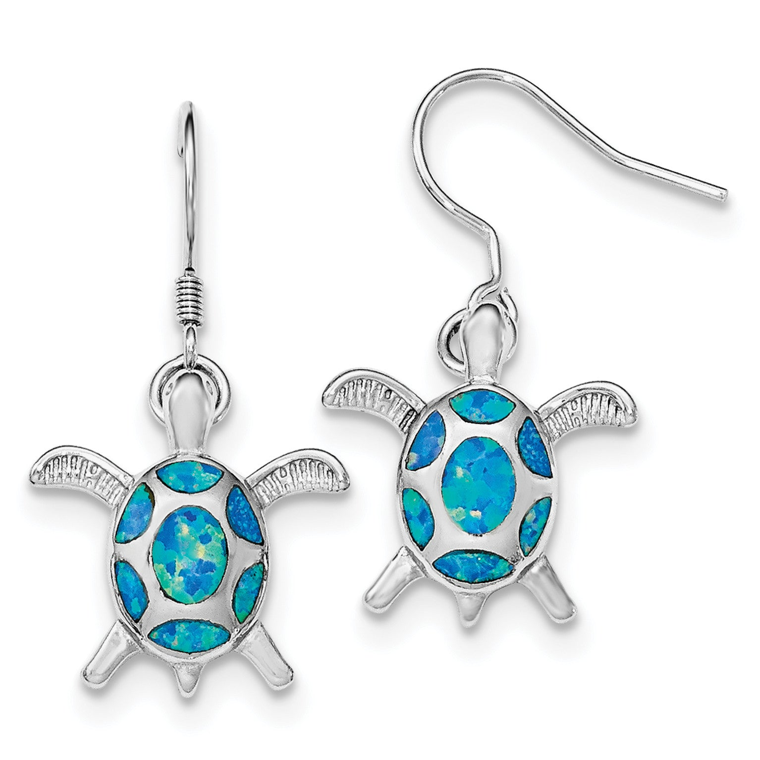 Sterling Silver Rhodium Created Blue Opal Turtle Shepherd Hook Earrings QE12599 - shirin-diamonds