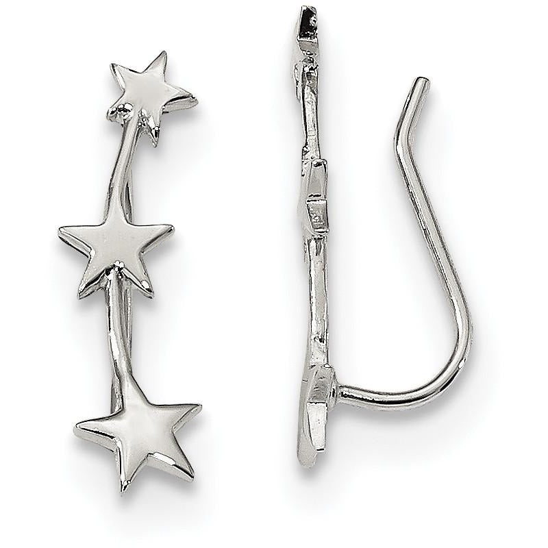 Sterling Silver Rhodium-plated Star Ear Climber Earrings QE13385 - shirin-diamonds