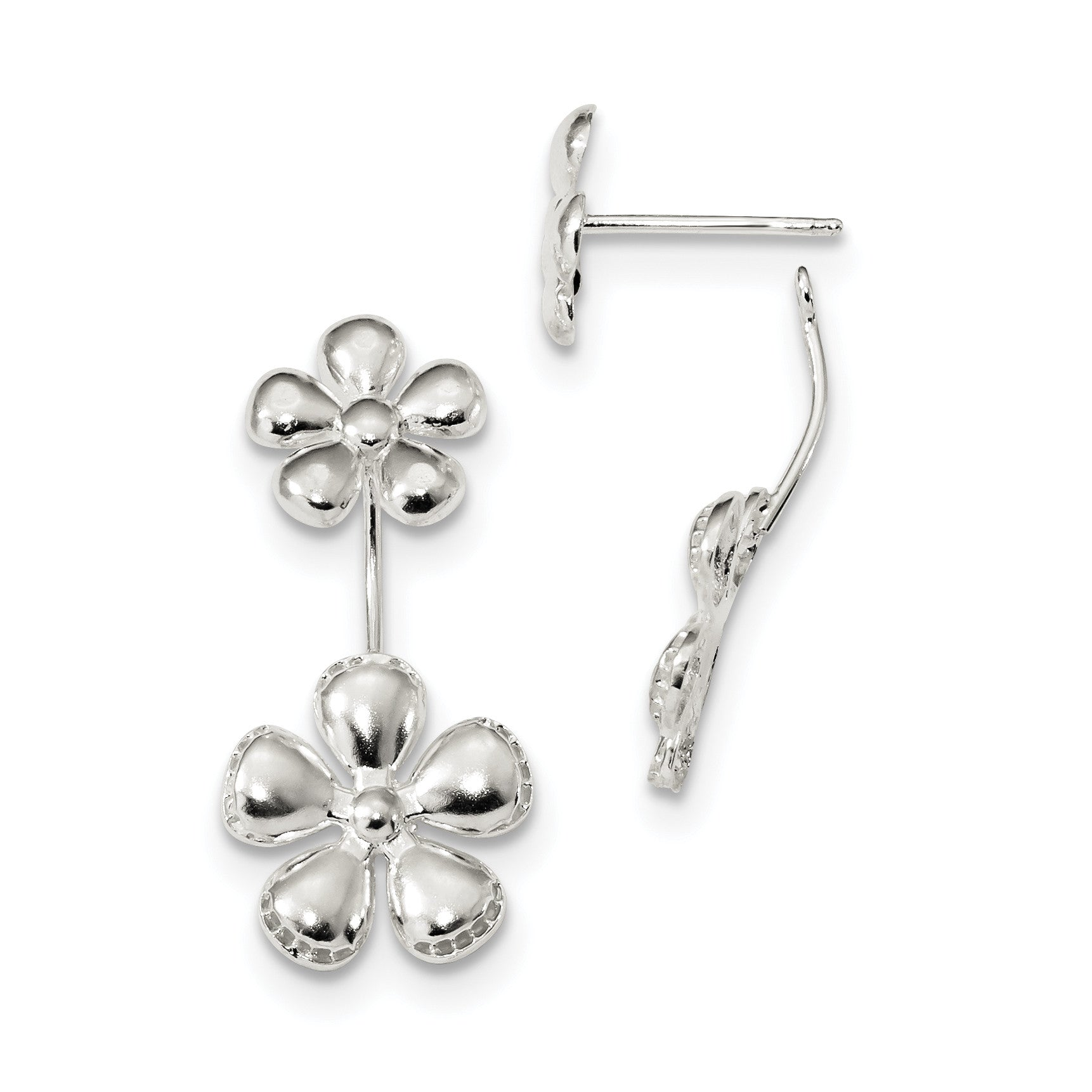 Sterling Silver Front & Back Polished Flower Earrings QE13570 - shirin-diamonds