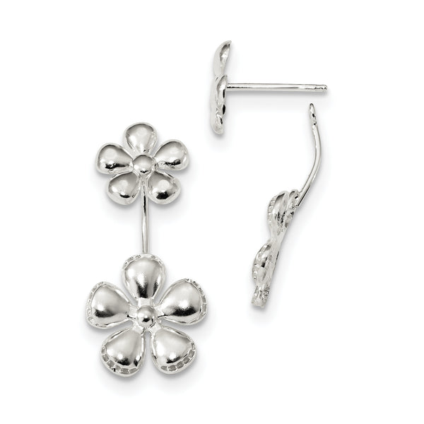 Sterling Silver Front & Back Polished Flower Earrings