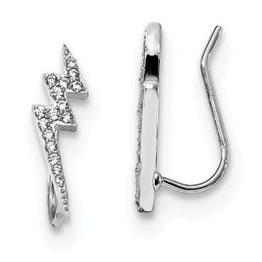 Sterling Silver Rhodium-plated CZ Lightning Bolt Ear Climber Earrings QE13670 - shirin-diamonds