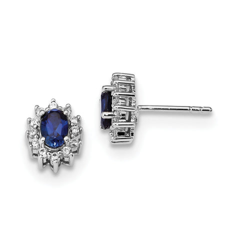 Sterling Silver Rhodium-plated CZ & Synthetic Blue Sapphire Earrings