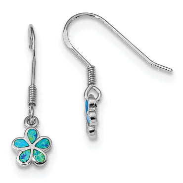 Sterling Silver Rhodium-plated Blue Created Opal Flower Earrings QE14032 - shirin-diamonds
