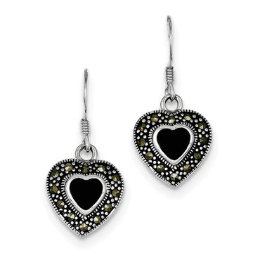 Sterling Silver Onyx Heart Marcasite Earrings QE1437 - shirin-diamonds