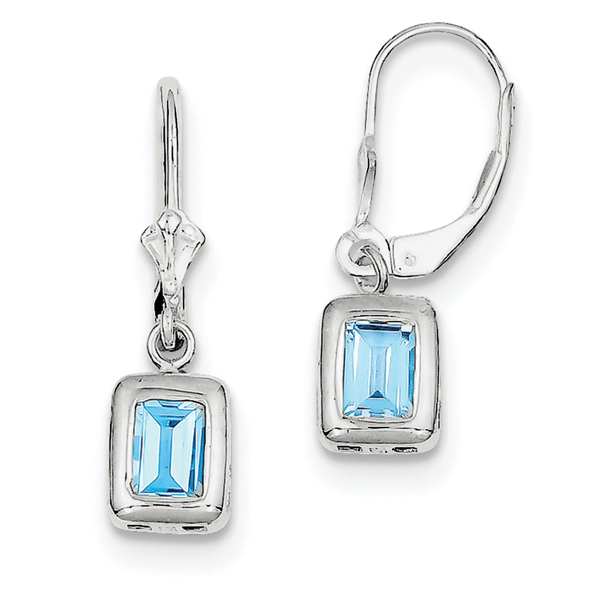 Sterling Silver Rhodium 7x5 Emerald Cut Blue Topaz Leverback Earrings QE2048BT - shirin-diamonds