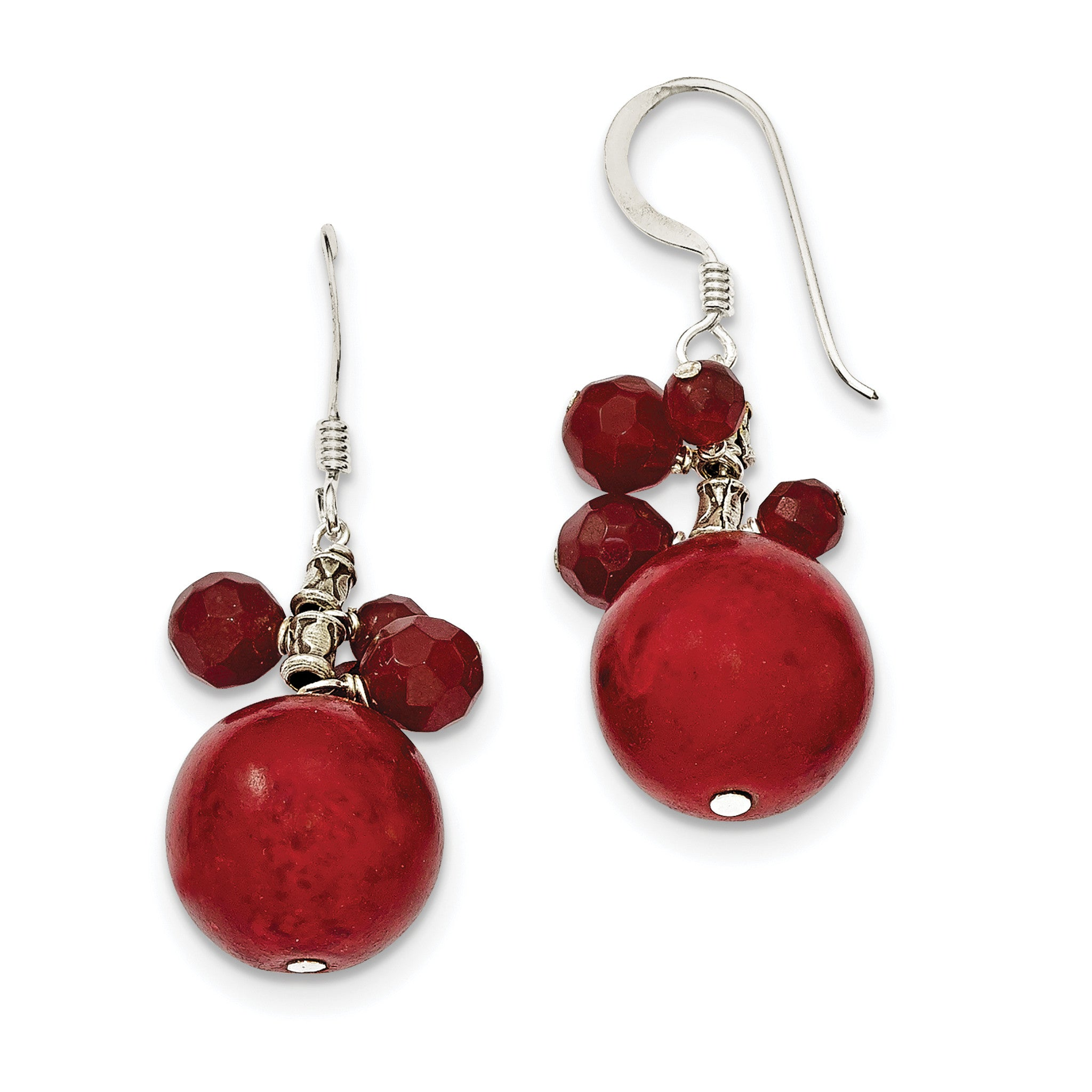 Sterling Silver Faceted Red Jasper & 14mm Reconstituted Coral Earrings QE2134 - shirin-diamonds
