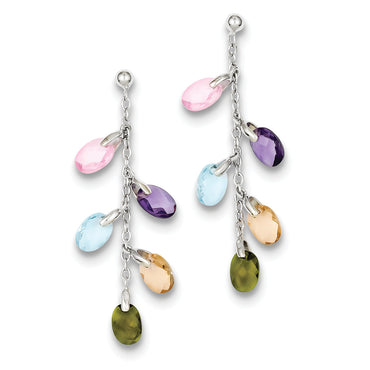 Sterling Silver with Multi-color Glass Earrings QE3005 - shirin-diamonds