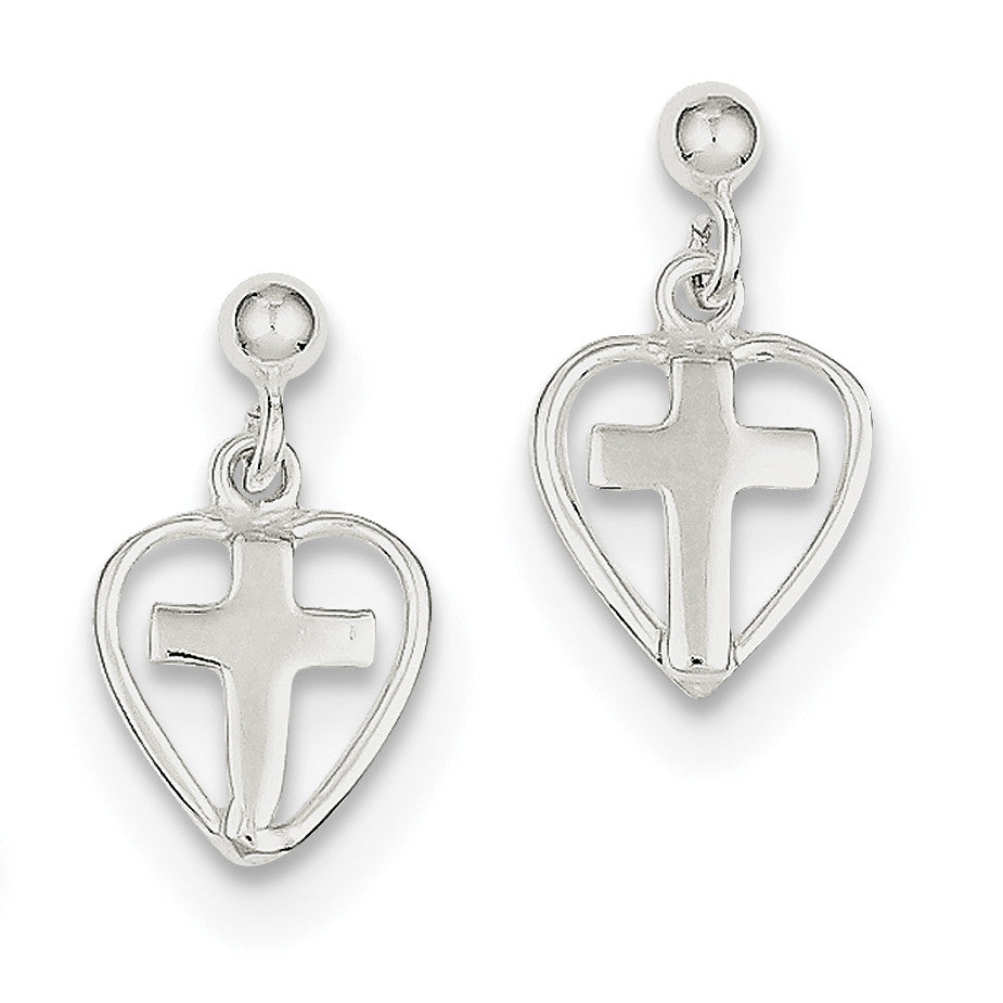Sterling Silver Cross in Heart Earrings QE4260 - shirin-diamonds