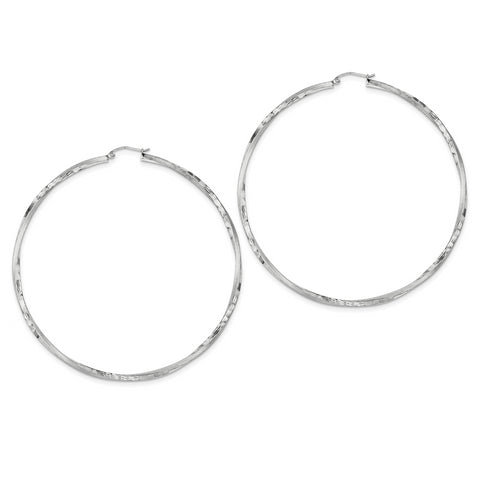 Sterling Silver Rhodium-plated Satin Finished D/C Twisted Hoop Earrings QE4608 - shirin-diamonds
