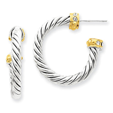 Sterling Silver Vermeil Stellux Crystal Hoop Post Earrings QE4909 - shirin-diamonds