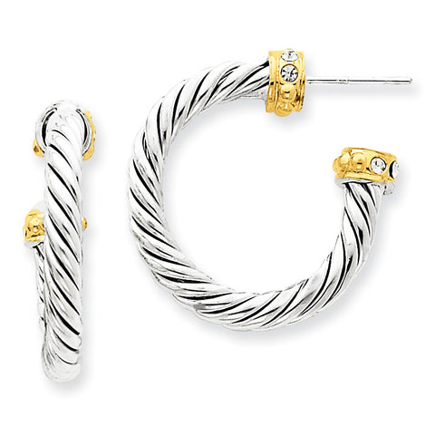 Sterling Silver Vermeil Stellux Crystal Hoop Post Earrings