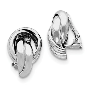 Sterling Silver Rhodium-plated Knot Design Clip Back Non-Pierced Earrings QE4958 - shirin-diamonds