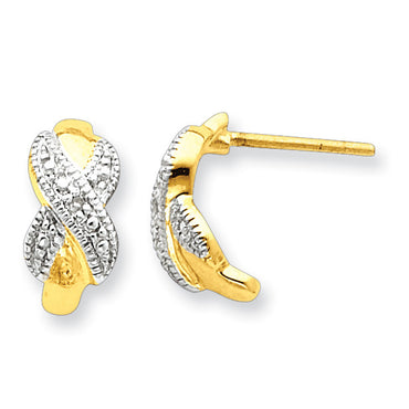 Sterling Silver Vermeil Diamond Post Earrings QE5030 - shirin-diamonds