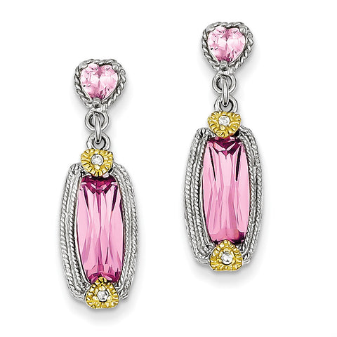 Sterling Silver Vermeil Pink CZ Dangle Post Earrings