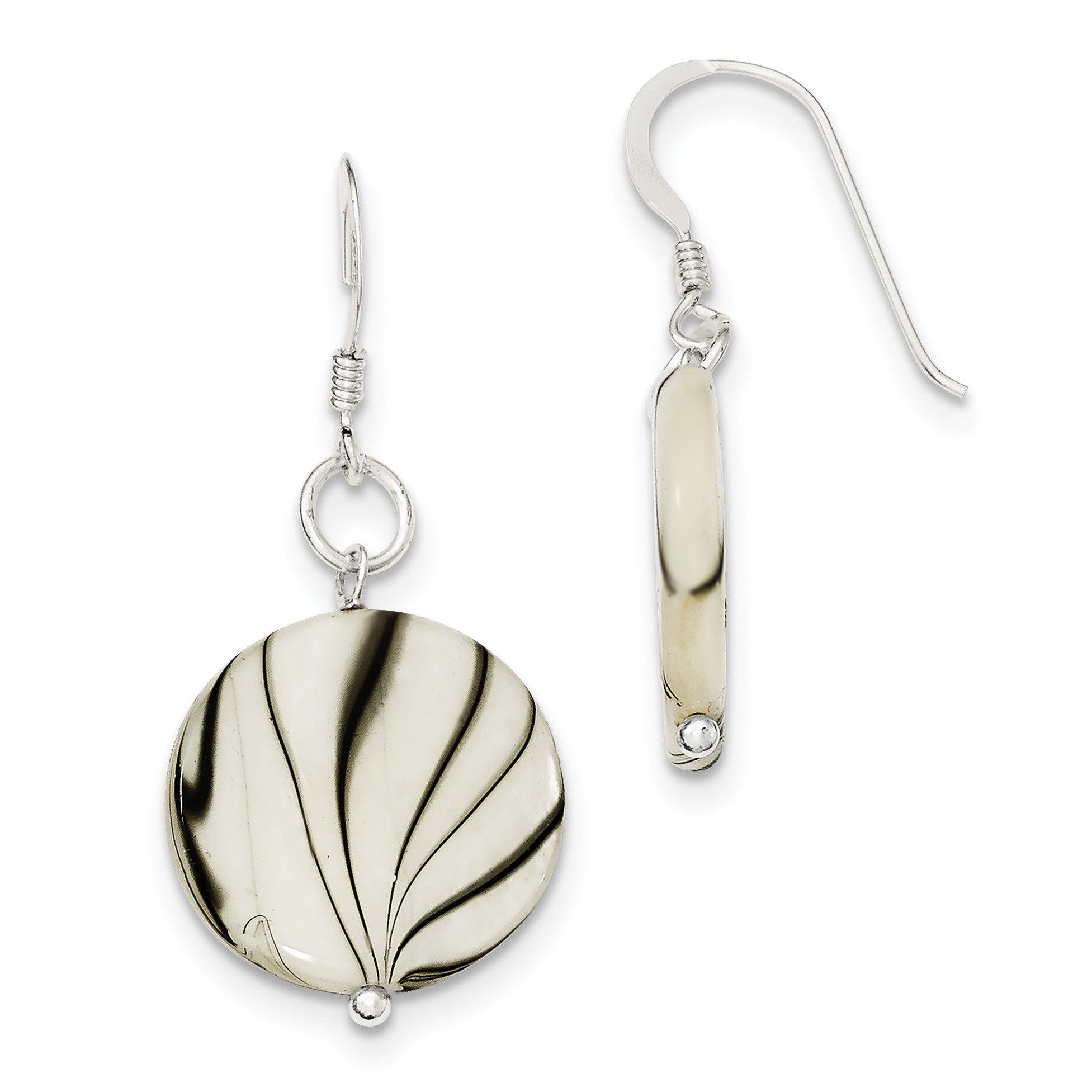 Sterling Silver Zebra Print Mother of Pearl Disc Earrings QE6211 - shirin-diamonds