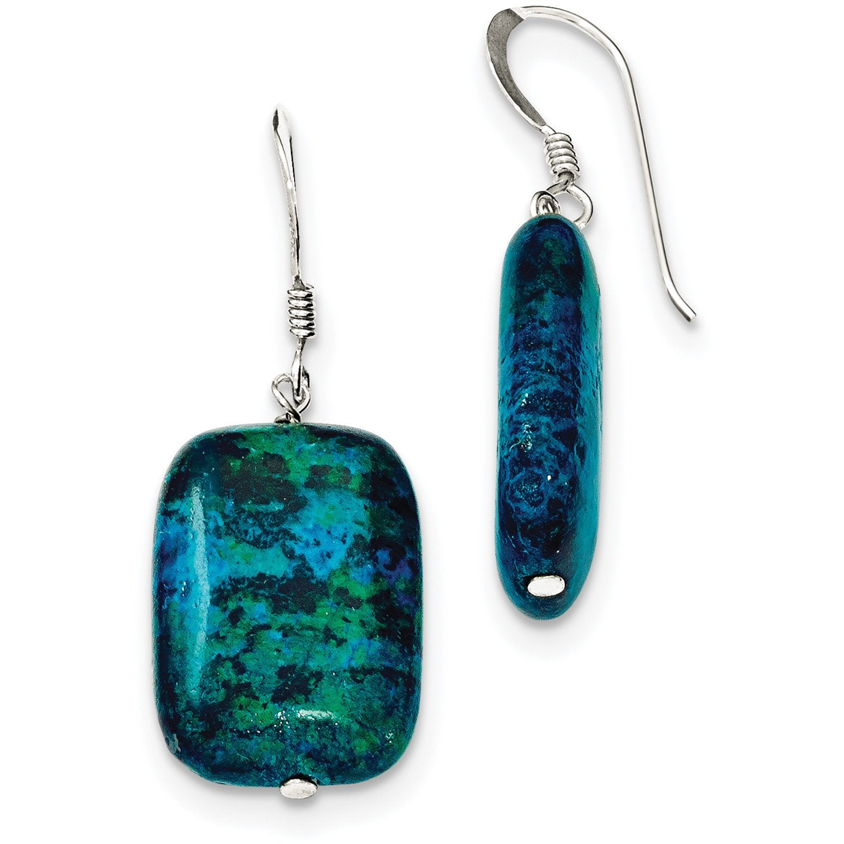 Sterling Silver Stabilized Chrysocolla Earrings QE6418 - shirin-diamonds