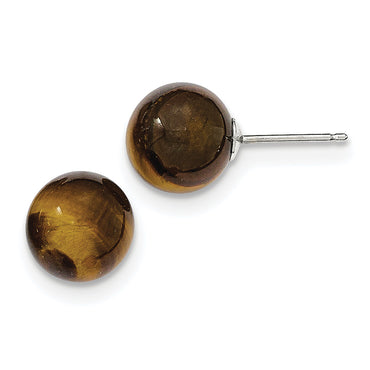 Sterling Silver Tiger's eye Stud Earrings QE6435 - shirin-diamonds