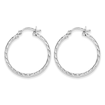 Sterling Silver Twisted 30mm Hoop Earrings QE6715 - shirin-diamonds