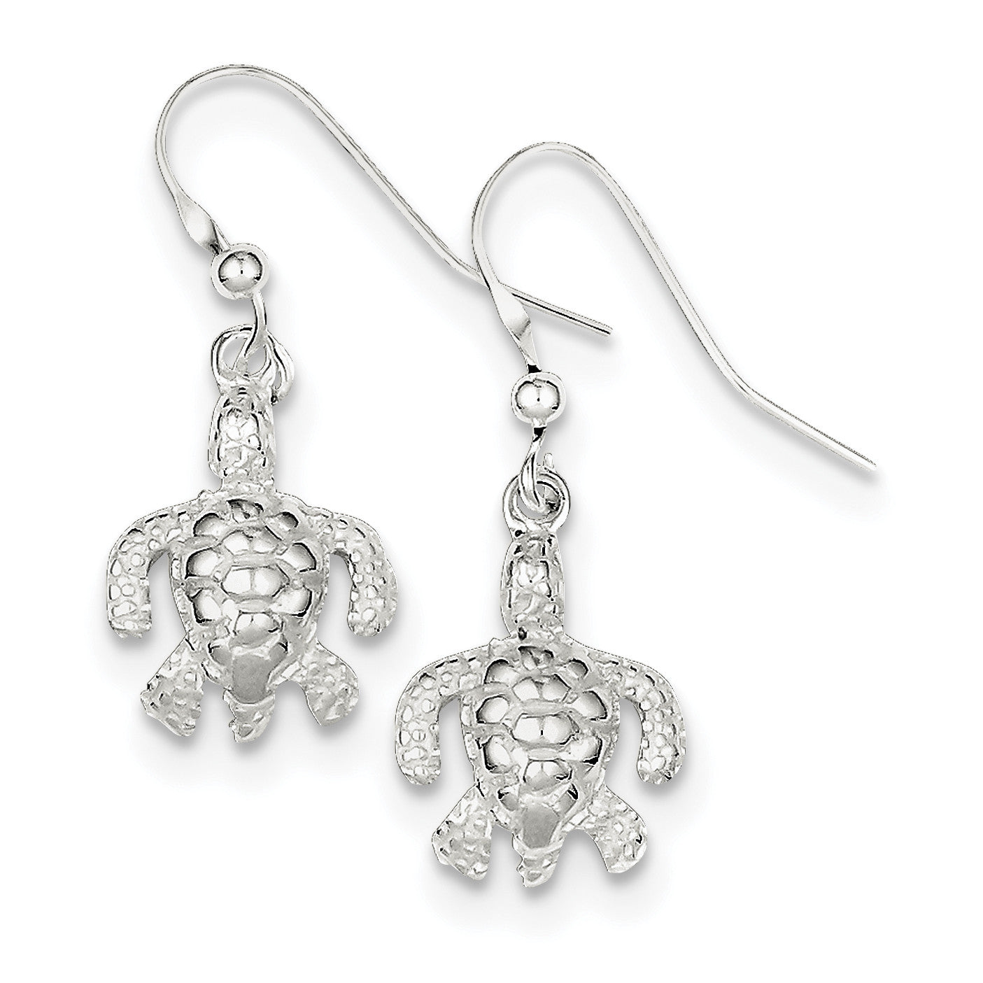 Sterling Silver Polished & Textured Turtle Dangle Earrings QE6953 - shirin-diamonds