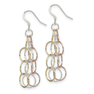 Sterling Silver Tri-colored Vermeil Polished Dangle Earrings QE7239 - shirin-diamonds