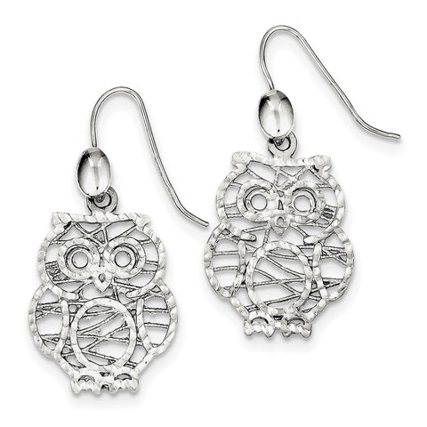 Sterling Silver Textured Owl Dangle Earrings