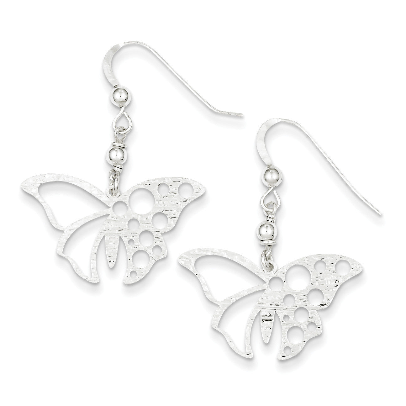Sterling Silver Textured Butterfly Dangle Earrings QE8803 - shirin-diamonds