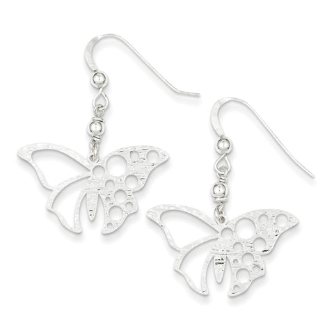 Sterling Silver Textured Butterfly Dangle Earrings