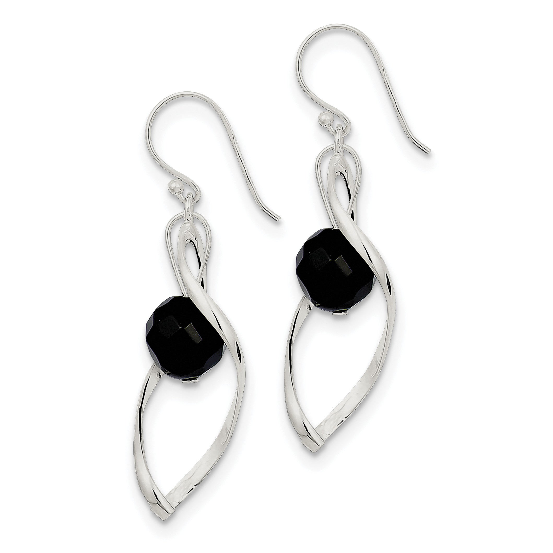 Sterling Silver Twist Dangle Onyx Earrings QE8958 - shirin-diamonds