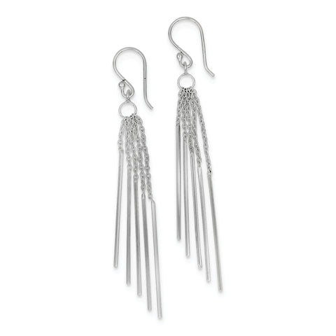 Sterling Silver Rhodium-plated Five Chains & Bars Earrings QE9034 - shirin-diamonds