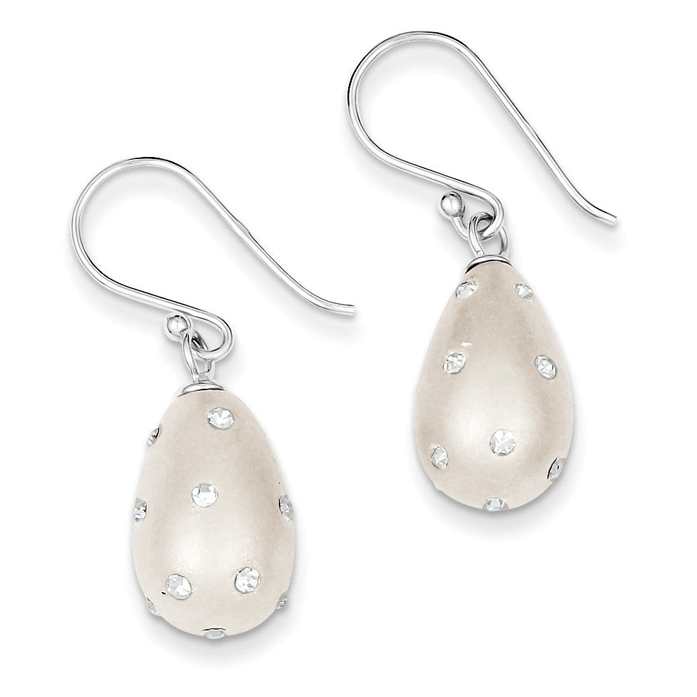 Sterling Silver Tear-Drop Silver & Preciosa Crystal Earrings QE9460 - shirin-diamonds