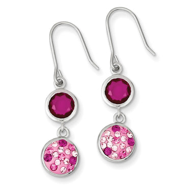 Sterling Silver with Pink CZ and Pink Preciosa Crystal Dangle Earrings QE9663 - shirin-diamonds