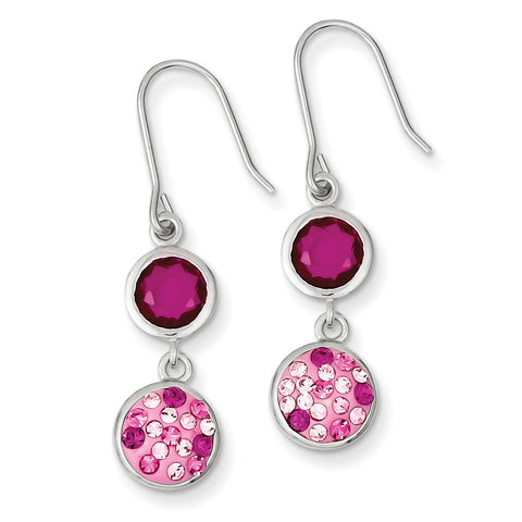 Sterling Silver with Pink CZ and Pink Preciosa Crystal Dangle Earrings