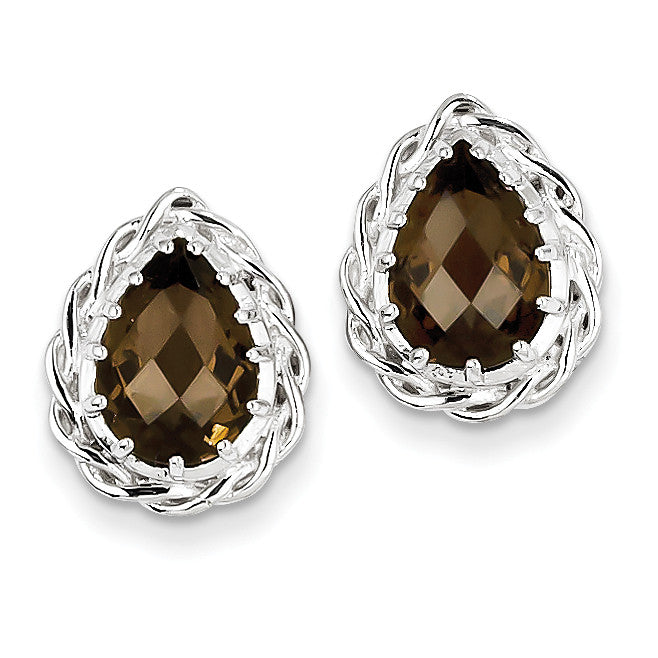Sterling Silver Smoky Quartz Earrings QE9828SQ - shirin-diamonds