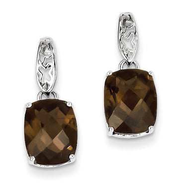 Sterling Silver Smoky Quartz Earrings QE9836SQ - shirin-diamonds