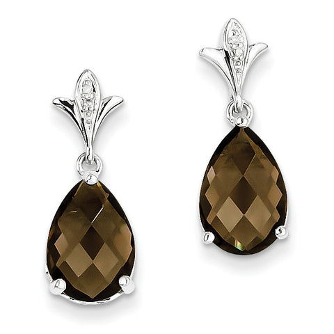 Sterling Silver Smoky Quartz and Diamond Earrings QE9855SQ - shirin-diamonds