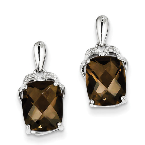 Sterling Silver Smoky Quartz and Diamond Earrings QE9856SQ - shirin-diamonds