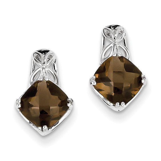 Sterling Silver Smoky Quartz Earrings QE9872SQ - shirin-diamonds