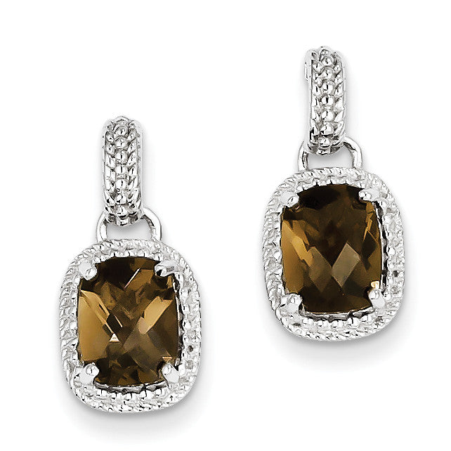 Sterling Silver Smoky Quartz Earrings QE9910SQ - shirin-diamonds