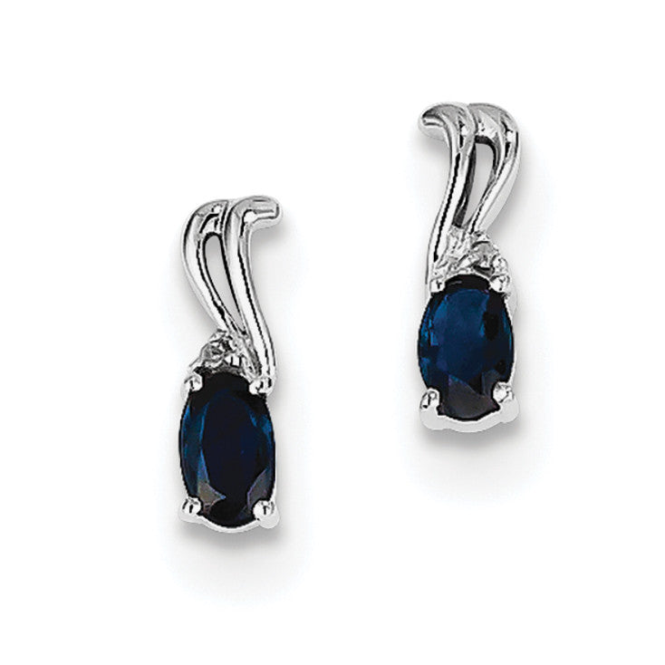 Sterling Silver Rhodium Plated Diamond & Sapphire Oval Post Earrings QE9967S - shirin-diamonds