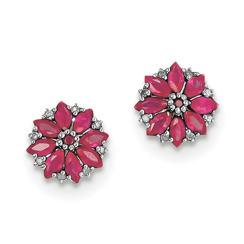 Sterling Silver Rhodium-plated Diamond & Composite Ruby Earrings
