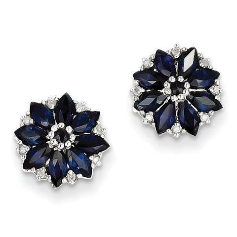 Sterling Silver Diamond & Sapphire Earrings