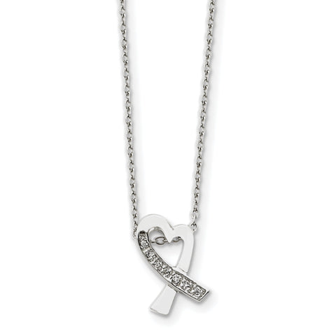 Sterling Silver Rhodium-plated CZ Heart Pendant on 16 Chain Necklace QG1043 - shirin-diamonds